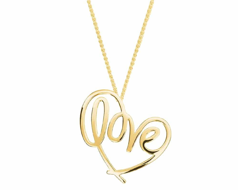 Heart Lines™ My Heart, My Love Pendant 14kt Yellow Gold