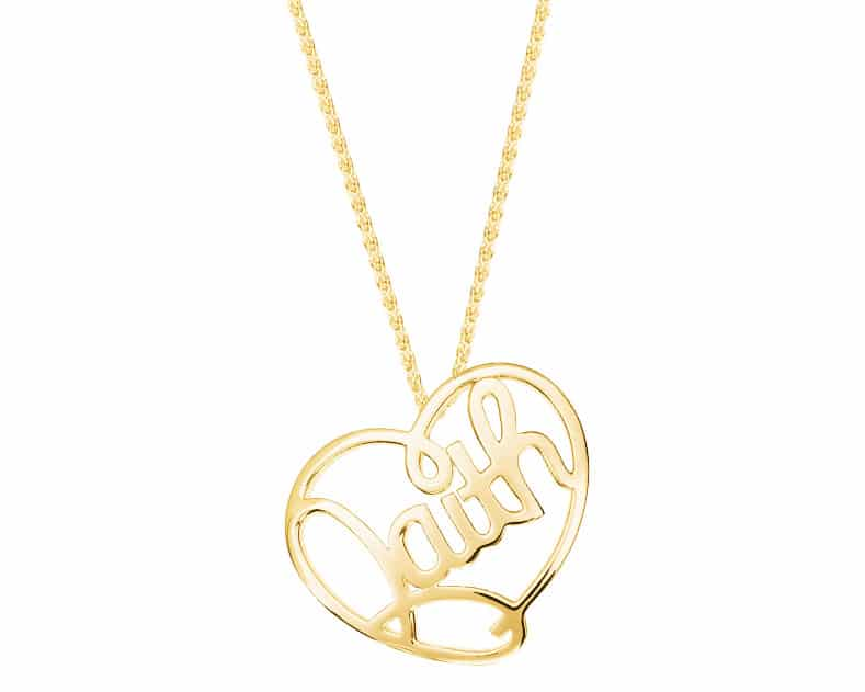 Heart Lines™ My Heart, My Faith Pendant 14kt Yellow Gold