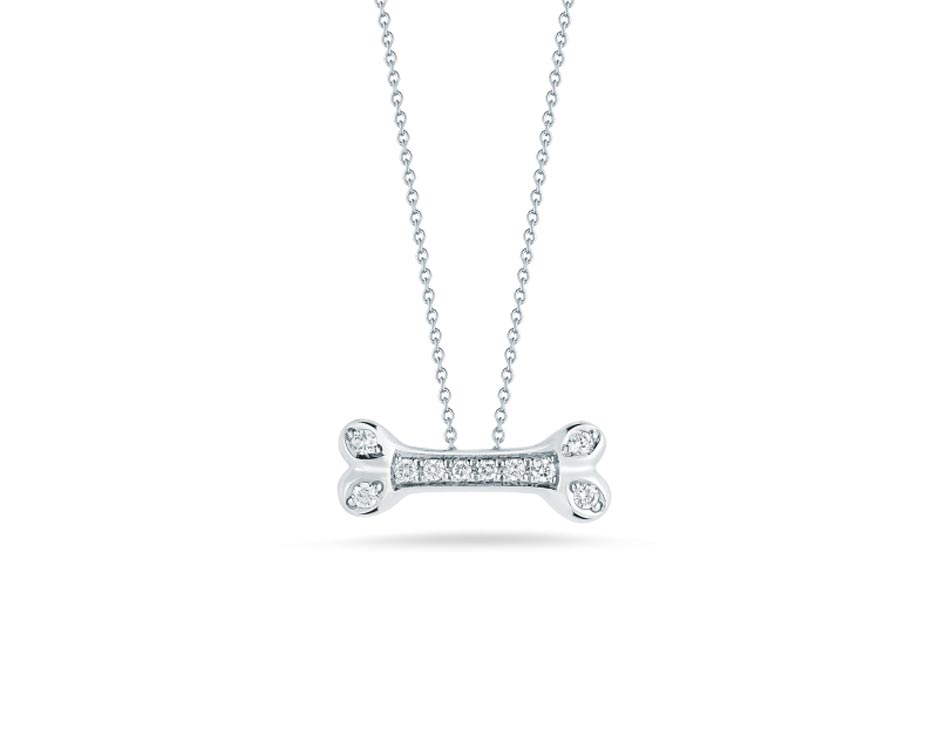 18Kt White Diamond Dog Bone Necklace