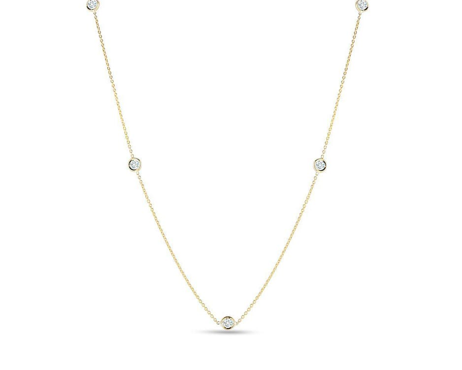 18Kt Yellow Five-Station Diamond Necklace