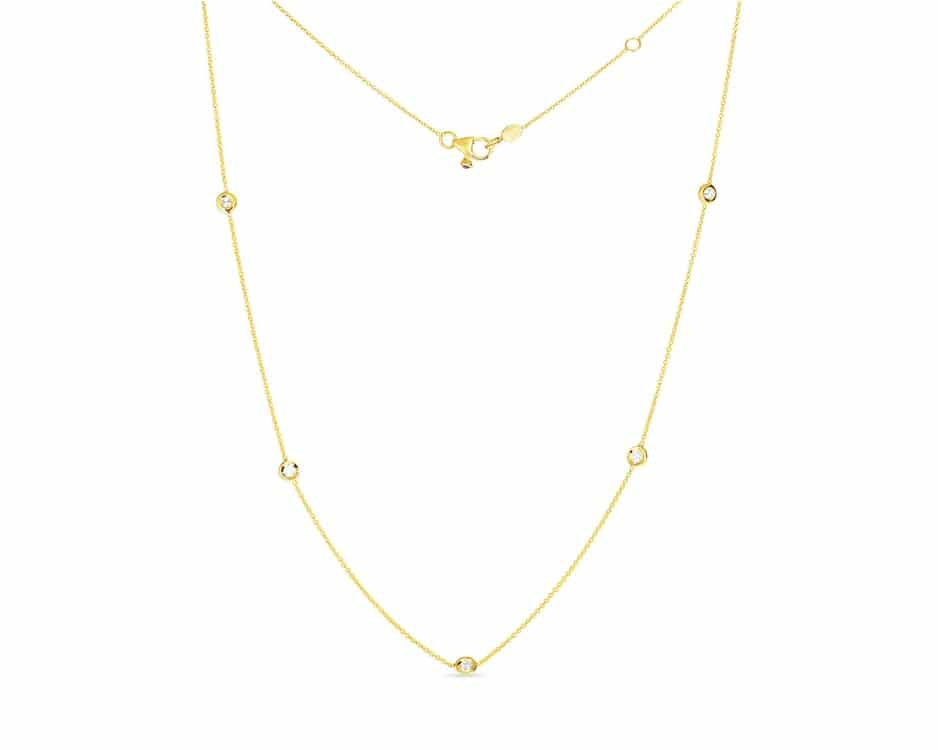 18Kt Five-Station Bezel Set Diamond Necklace