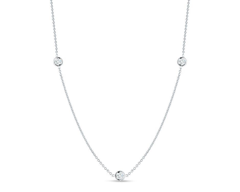 Diamond 18K White Gold Three Station Necklace
