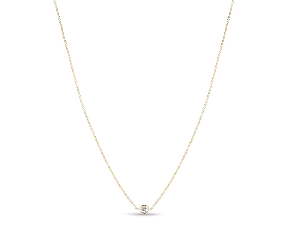 Yellow 18Kt Single Station Necklace