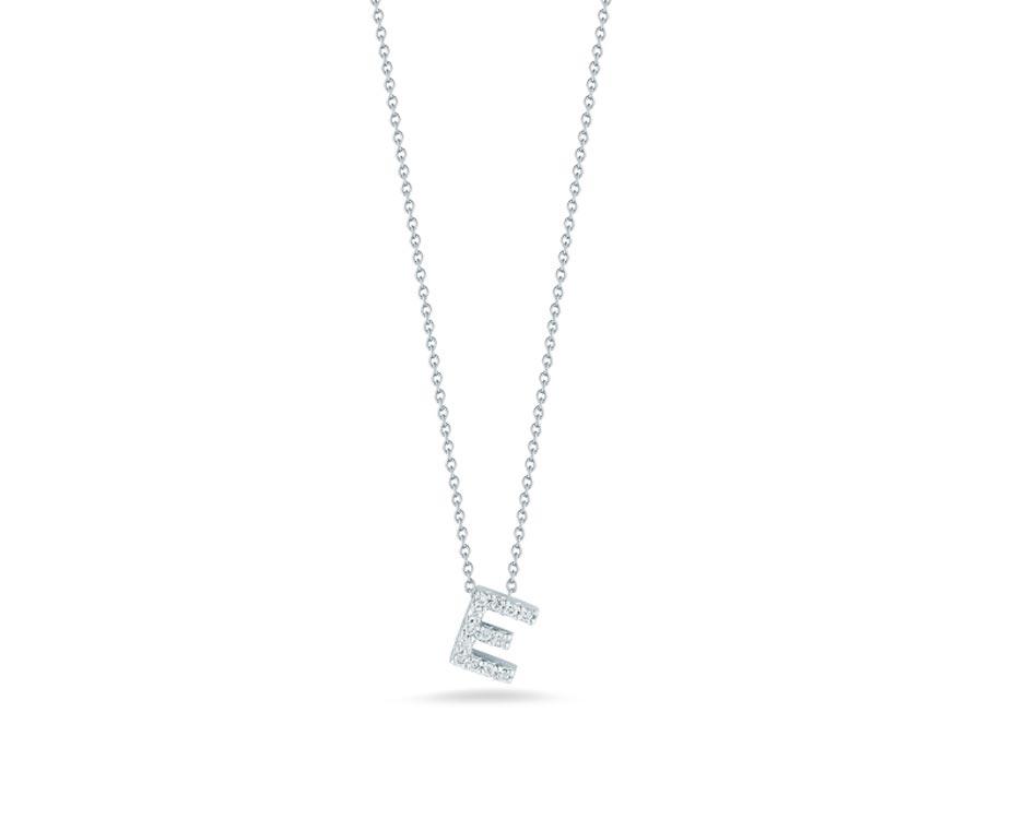 "18Kt White Initial ""E"" Diamond Pendant"