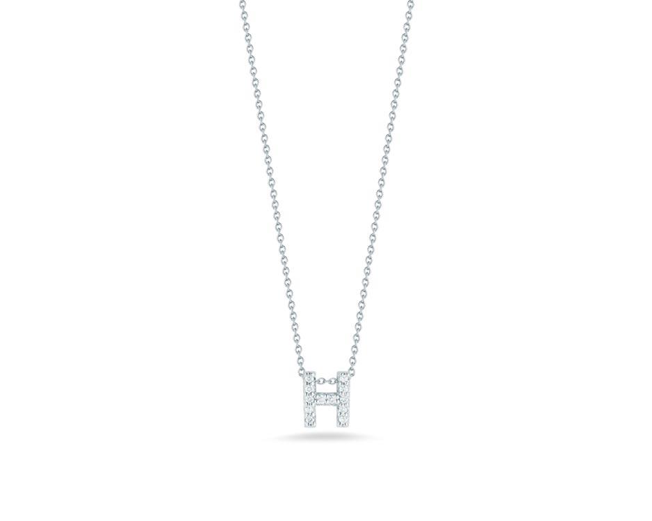 "18Kt White Initial ""H"" Diamond Pendant"