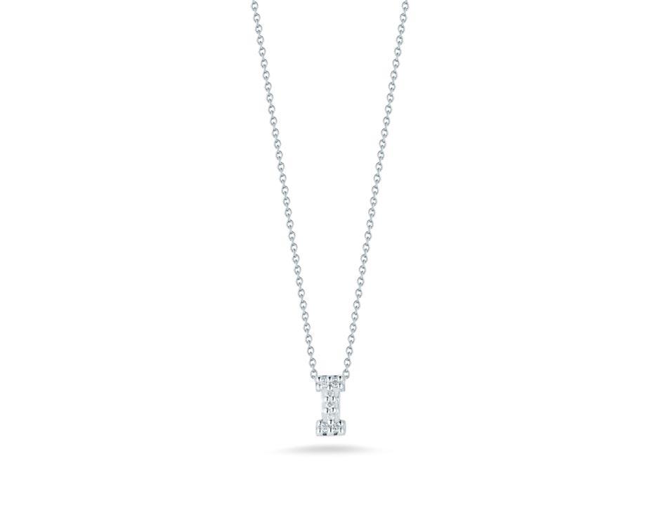 "18Kt White Initial ""I"" Diamond Pendant"