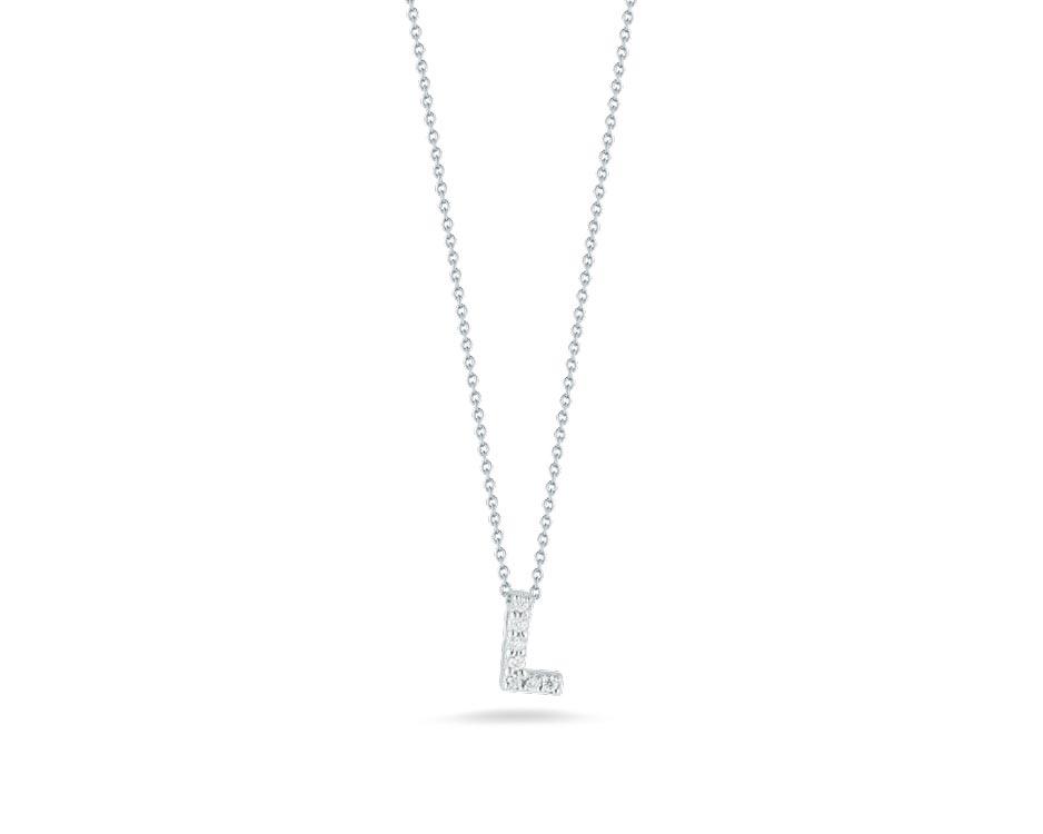"""18Kt White Initial """"L"""" Diamond Pendant"""