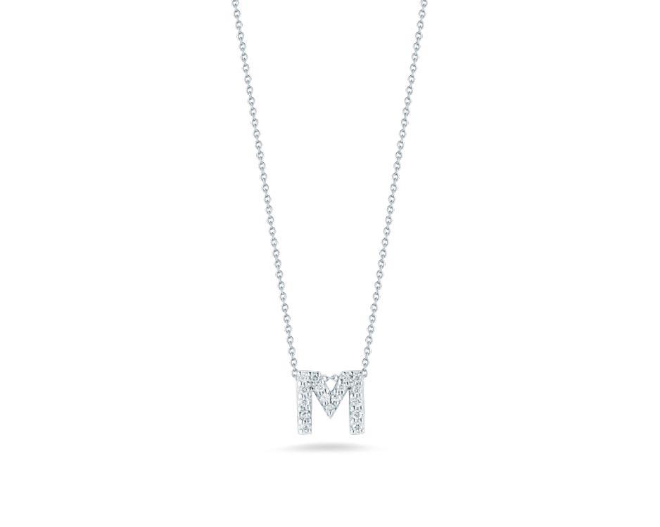 "18Kt White Initial ""M"" Diamond Pendant"