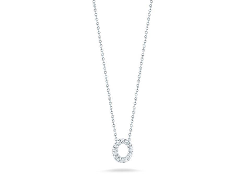 "18Kt White Initial ""O"" Diamond Pendant"