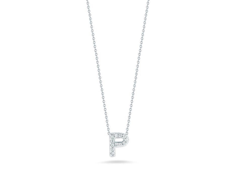 "18Kt White Initial ""P"" Diamond Pendant"