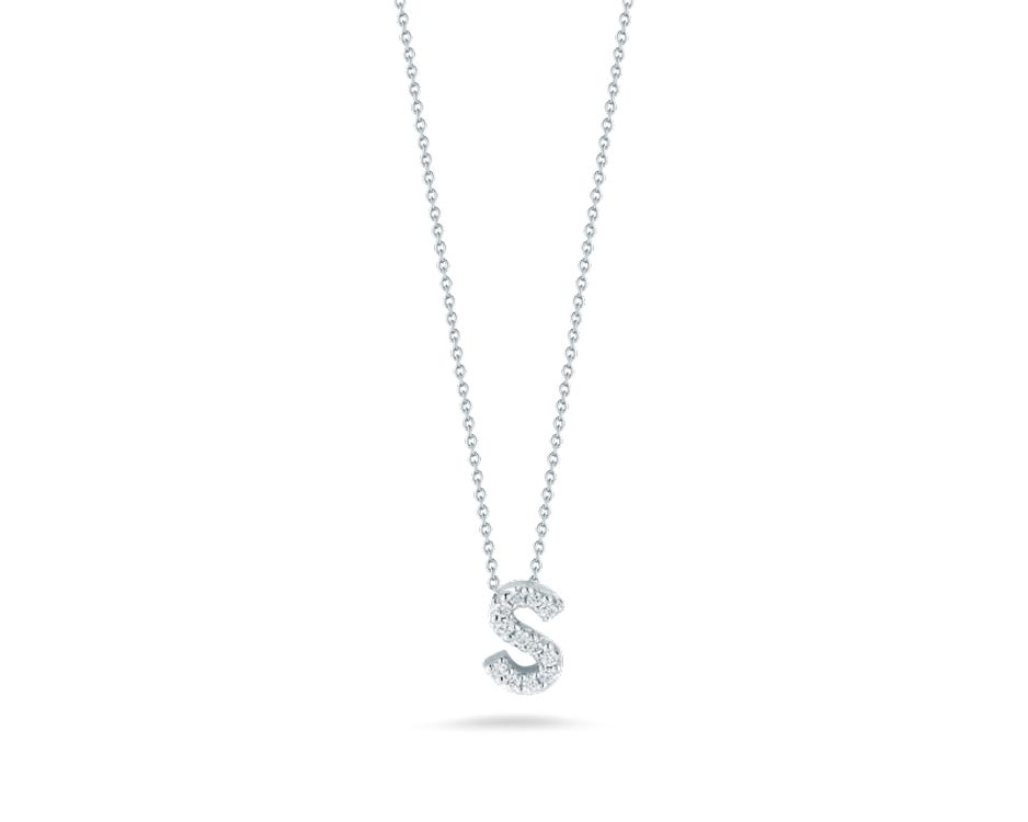 "18Kt White Initial ""S"" Diamond Pendant"