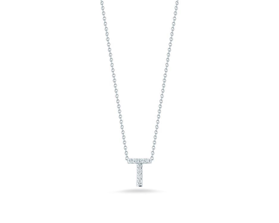 "18Kt White Initial ""T"" Diamond Pendant"