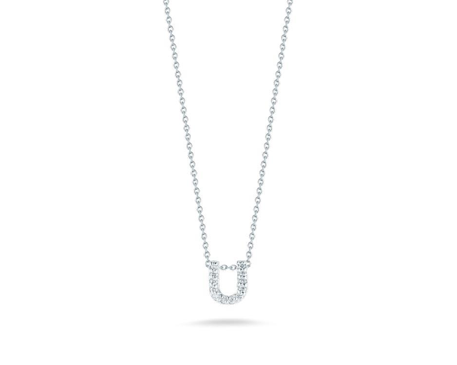"18Kt White Initial ""U"" Diamond Pendant"