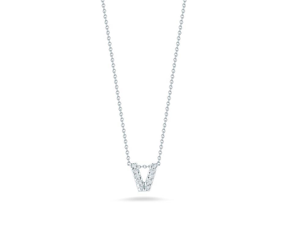 """18Kt White Initial """"V"""" Diamond Pendant"""