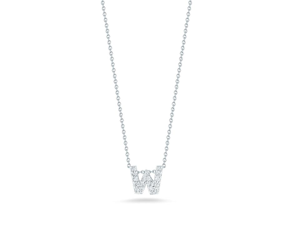 "Love Letter ""W"" Pendant with Diamonds"