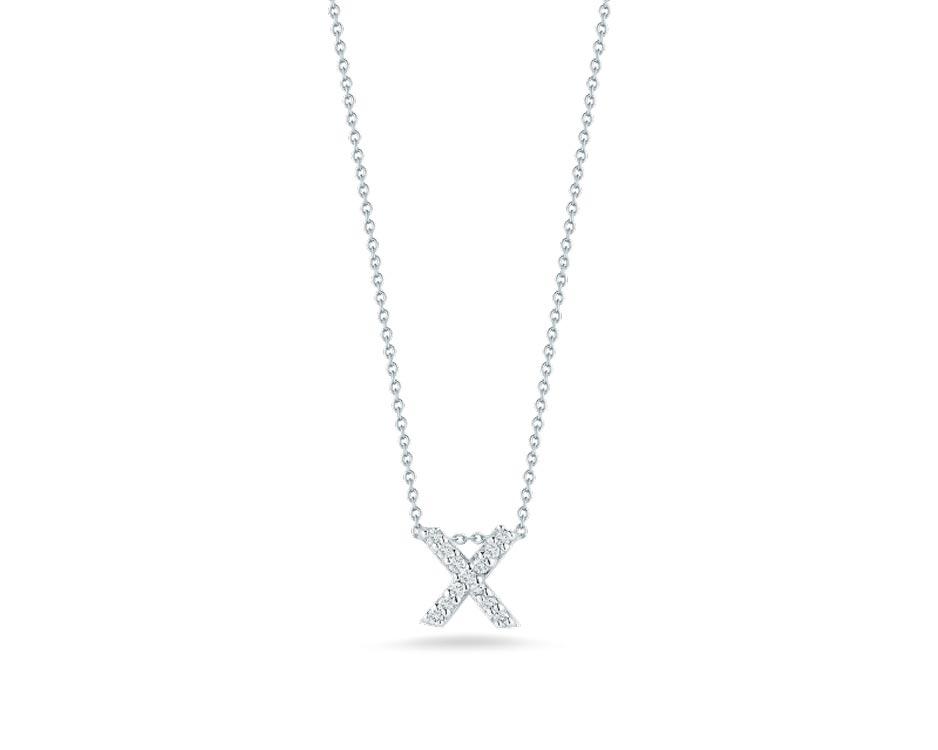 "18Kt White Initial ""X"" Diamond Pendant"