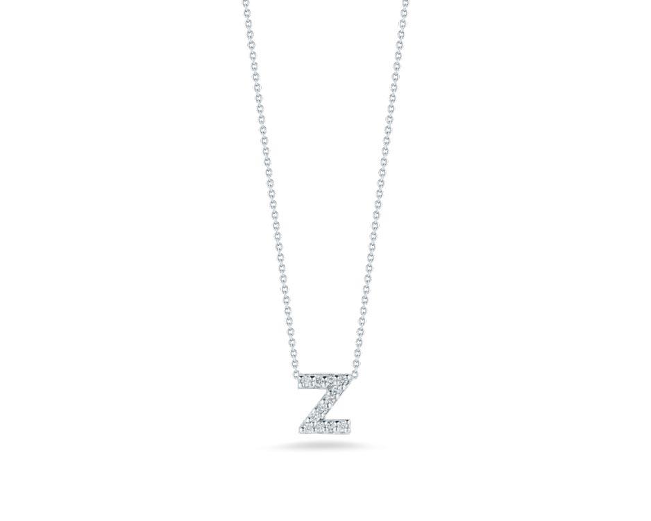 "18Kt White Initial ""Z"" Diamond Pendant"