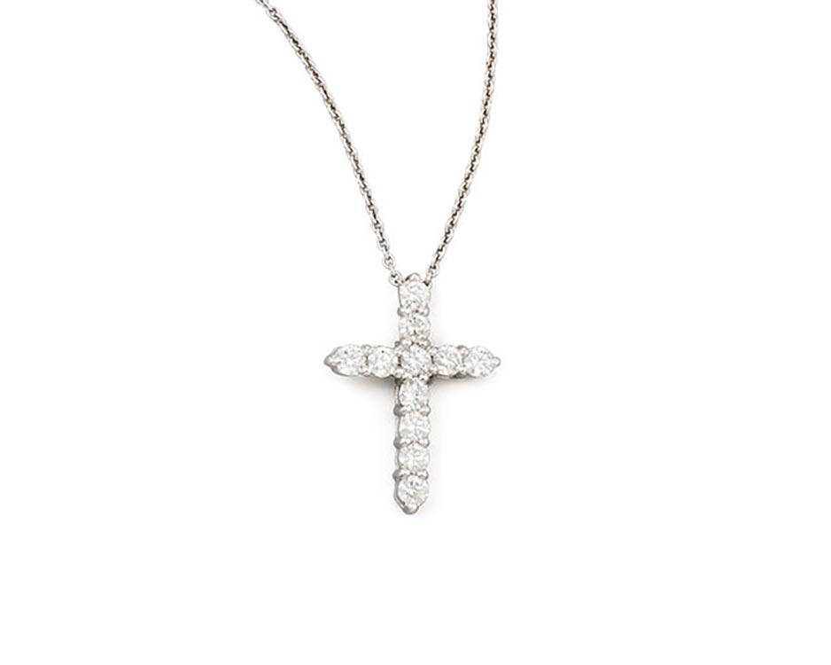 18Kt White Diamond Cross Pendant