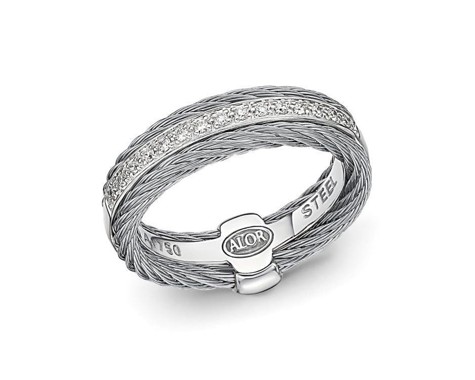 Gray Stainless / 18K White Gold Fashion Ring