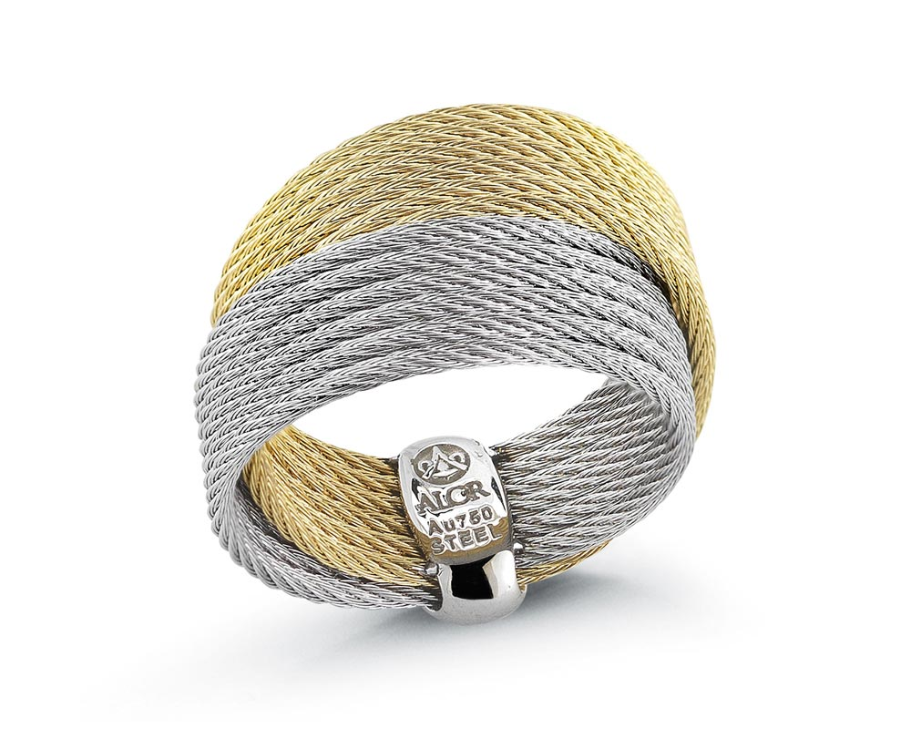 Yellow & Gray Sterling Silver Cable Ring