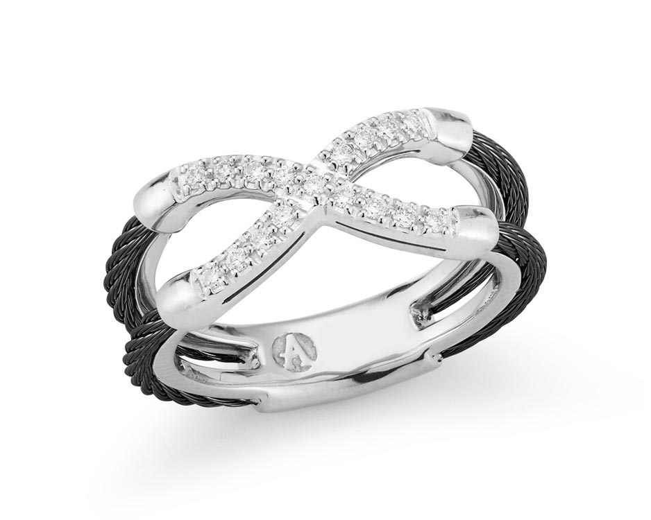 Black & Silver Cable Fashion Ring