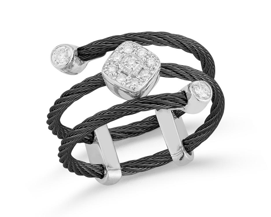 Black Stainless Steel & 18K White Gold Fashion Ring