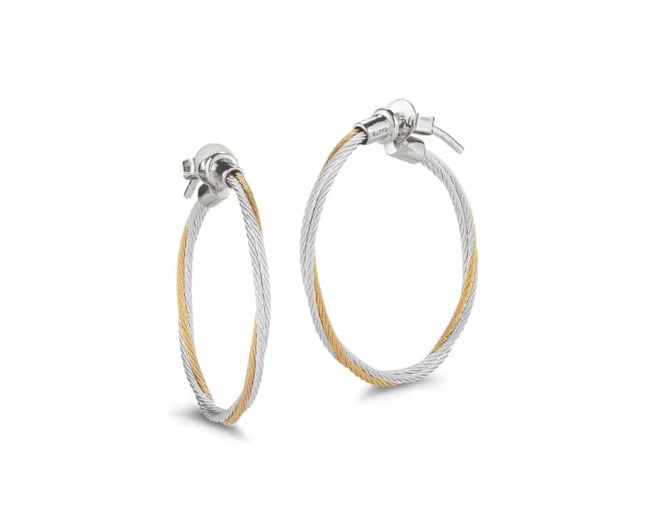 Silver & Yellow Stainless Hoop Earrings