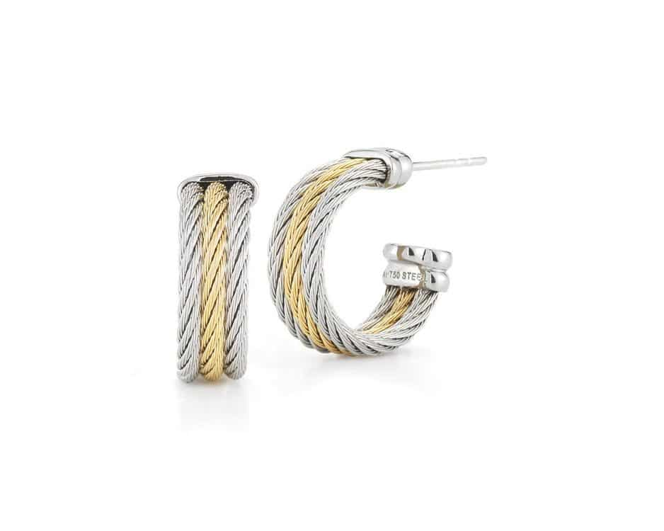 Yellow & Gray Stainless Steel Cable Earrings