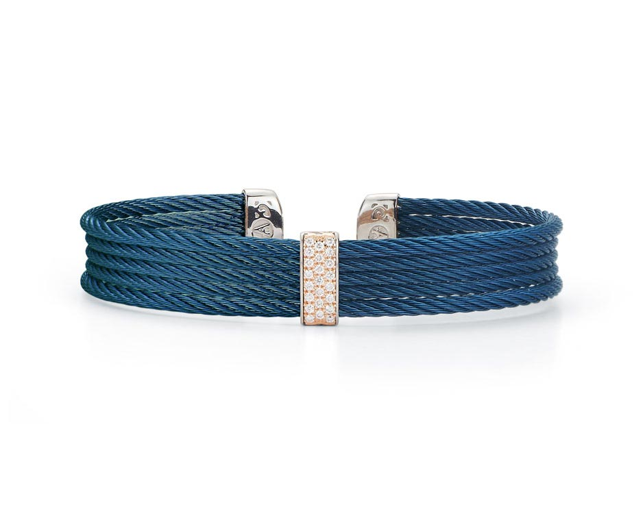 Rose Gold & Blue Stainless Cuff Bracelet
