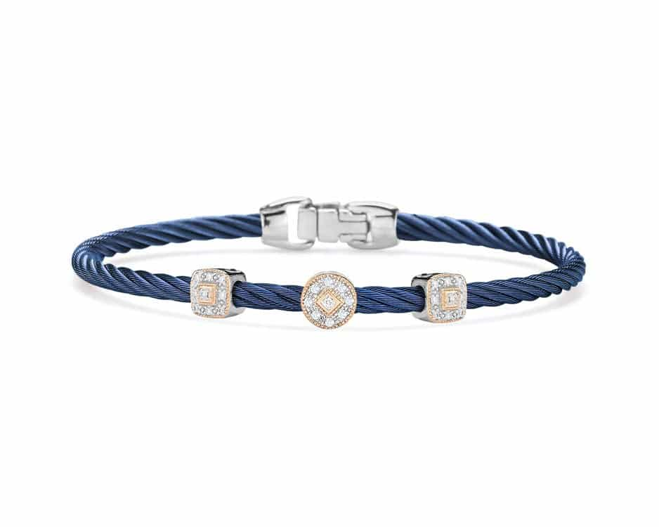 Blue Stainless / 18k White Rose Gold Station Bangle