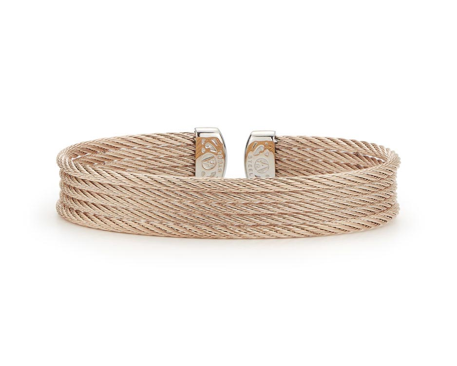 Carnation Cable Stainless Cuff Bracelet