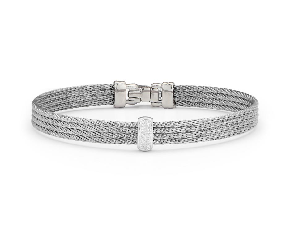 Gray Stainless Steel & White Gold Fashion Bangle