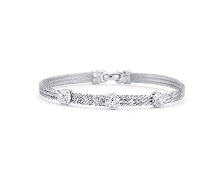White Stainless Steel & 18K Station Bangle