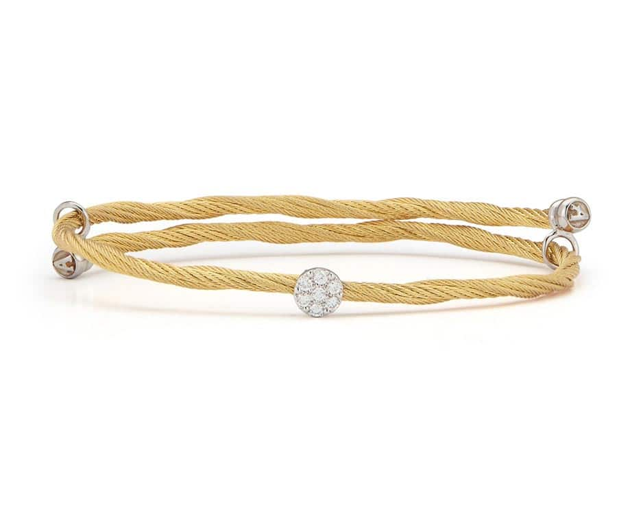 Yellow Stainless Steel 18k White Gold Fashion Bangle
