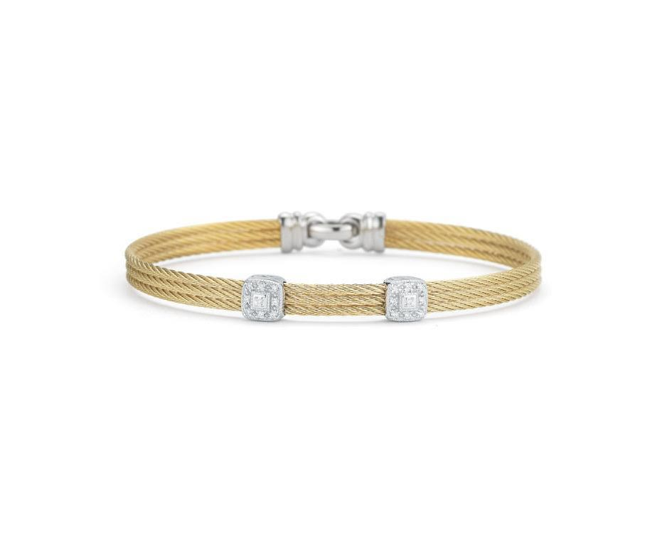 Two-Tone Stainless 18K Double Cushion Bangle