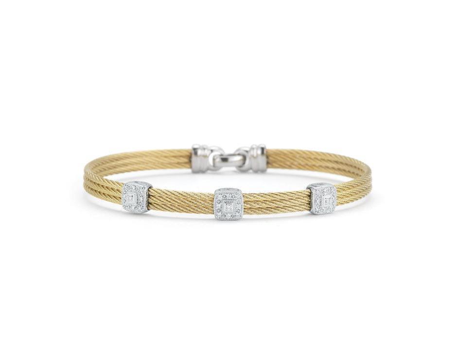 Stainless Steel / 18k White Gold Three-Row Bracelet