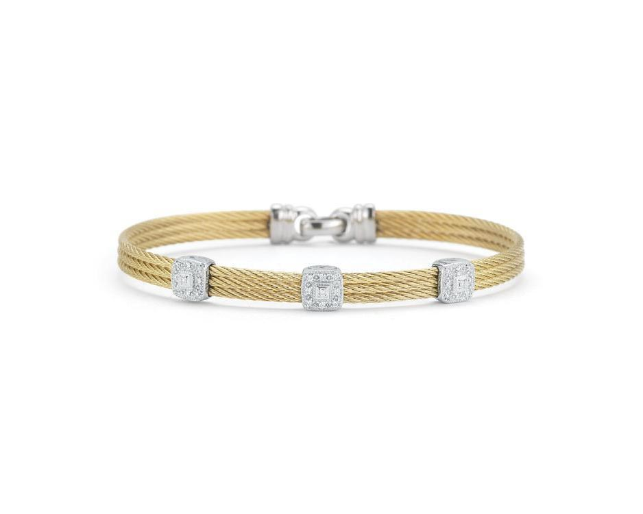 Stainless 18k Cable Bangle Bracelet