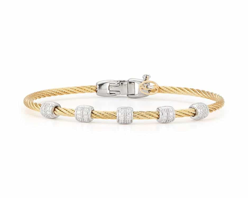 Yellow Stainless Steel Cable Bangle