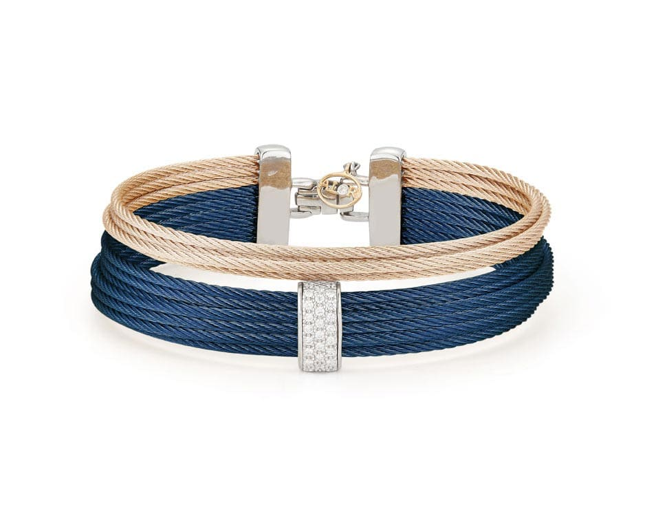 Carnation & Blue Stainless Multi-Row Bracelet