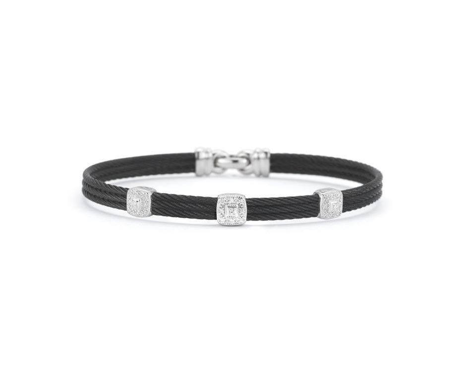 Black Stainless Steel & White Gold Cushion Station Bangle