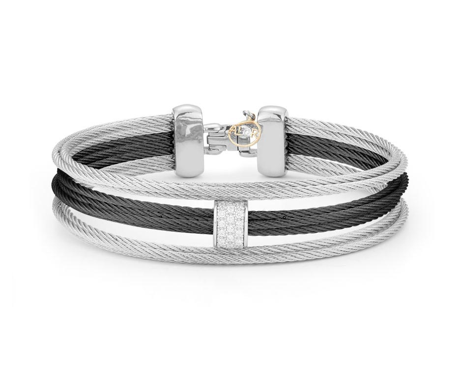Black and Stainless Multi-Row Bracelet