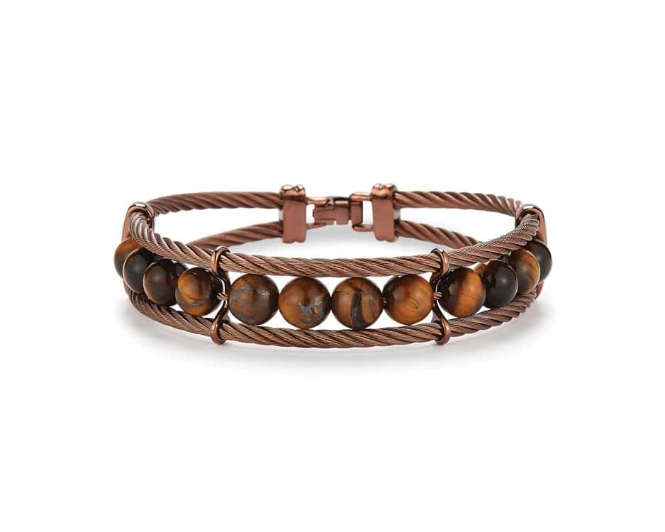 Gent's Bronze Stainless Tiger Eye Bangle