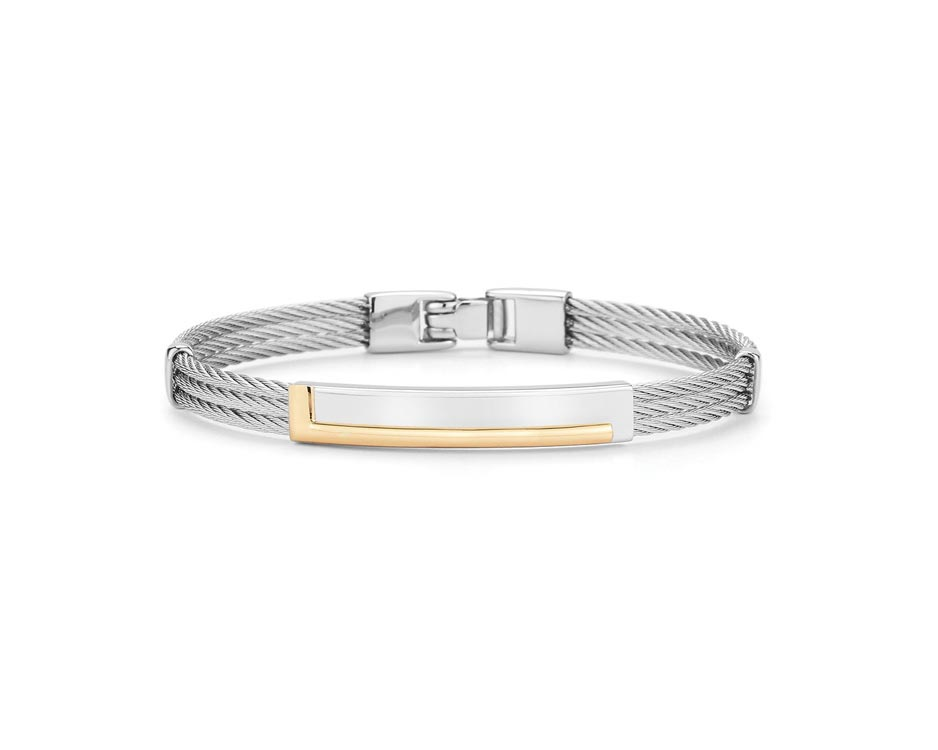 Gent's Stainless / 18K Row Bangle