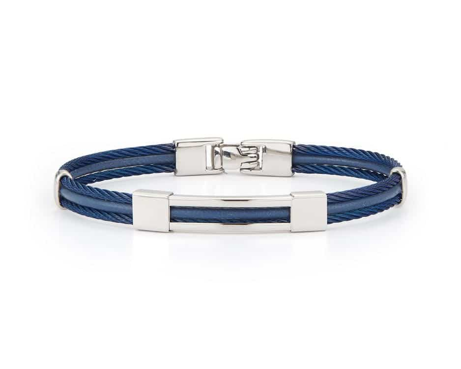 Gent's Blue Cable Bangle Bracelet