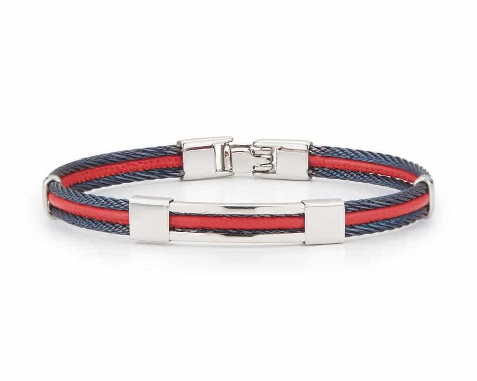 Gent's Red & Blue Cable Bracelet