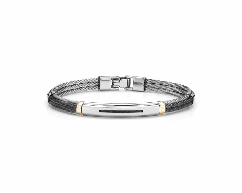 Gent's Two-Tone Stainless Steel Cable Bangle