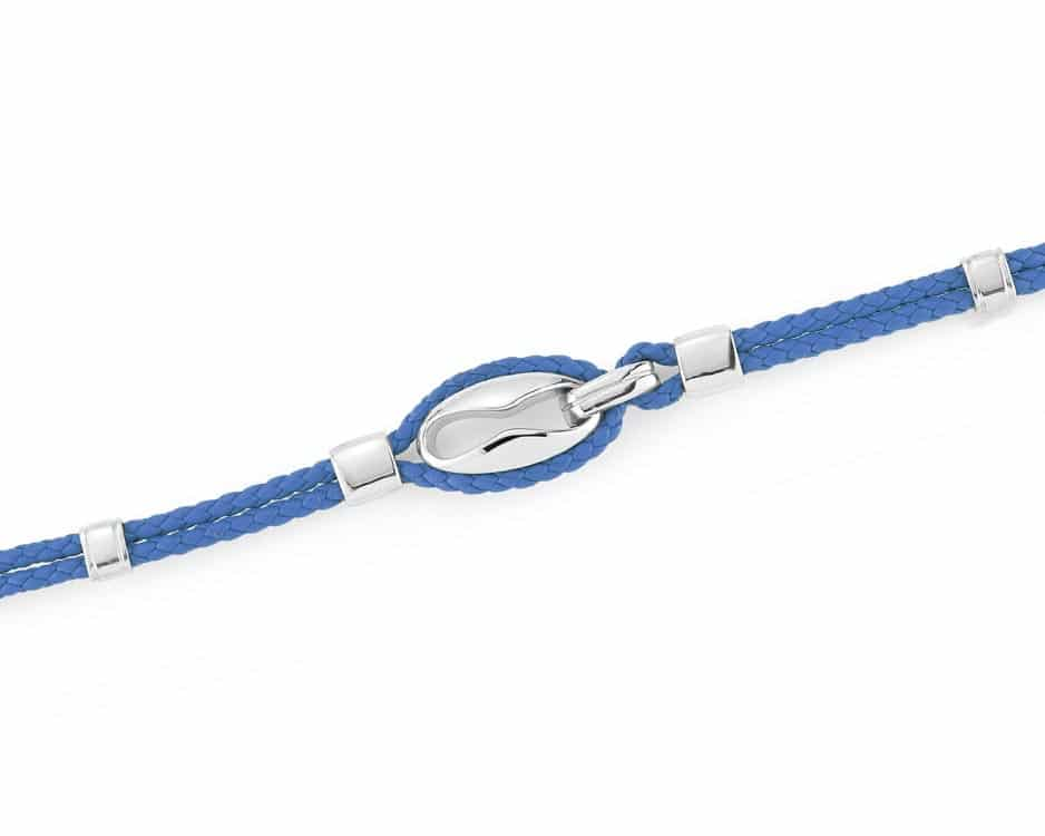 Stainless Steel & Blue Leather Bracelet
