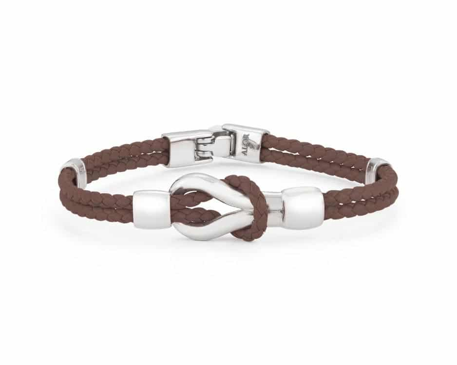 Stainless Steel & Brown Leather Bracelet