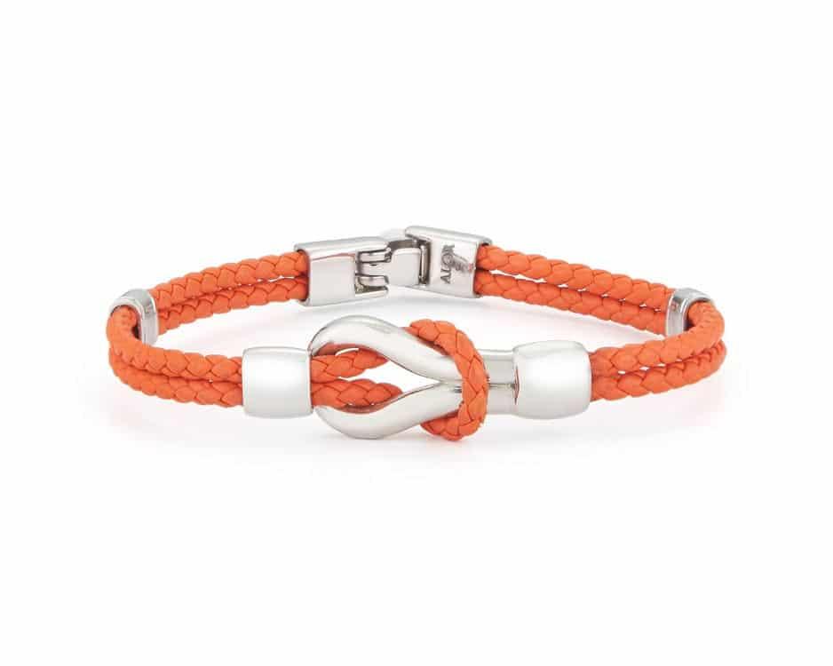 Stainless Steel & Orange Leather Bracelet