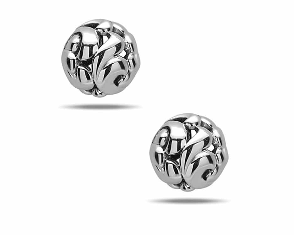 Sterling Silver Ivy Button Earrings